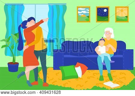 Family Members Spending Time At Home. Happy Family Couple Embracing, Grandma Sitting On Sofa And Hol