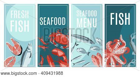 Fresh Seafood Card Templates Set. Seafood Restaurant Menu, Fish Market, Shop Design. Flyer, Promotio