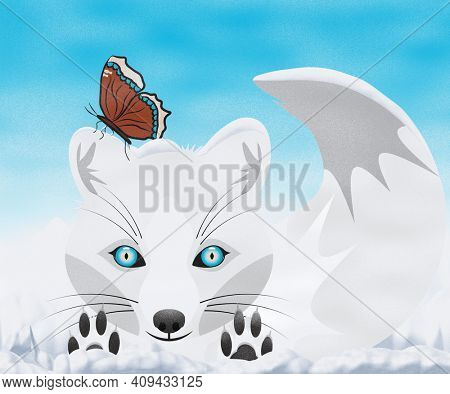 White Arctic Fox Playing in the Snow with a Mourning Cloak Butterfly