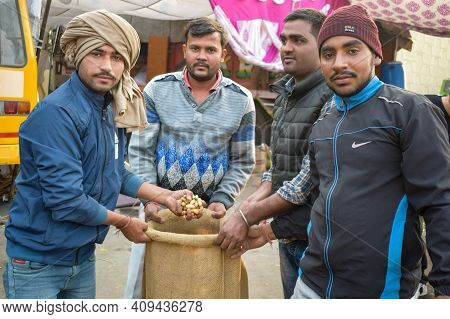 New Delhi, India – December 25 2020 : Indian Sikh And Hindu Farmers From Punjab, Uttar Pradesh And U