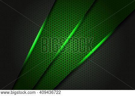 Abstract Green Slash Triangle Metallic On Dark Grey With Hexagon Mesh Pattern Design Modern Futurist