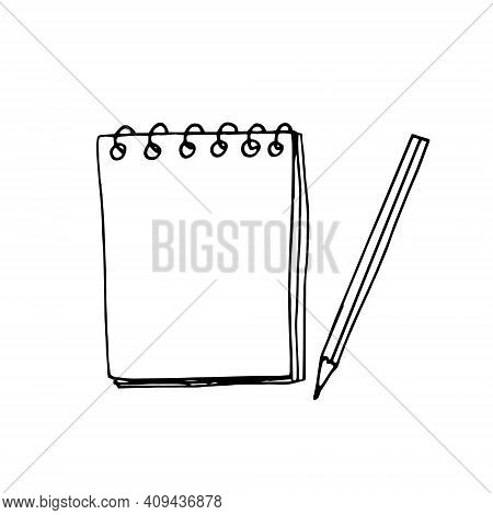 Notepad Blank Sheet And Pencil Icon, Sticker. Sketch Hand Drawn Doodle Style. Vector, Minimalism, Mo