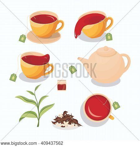 Illustration Of Tea In A Cup, Spilled Tea, Tea Bag, Teapot, Green Tea Leaves, And Dry Tea With Jasmi