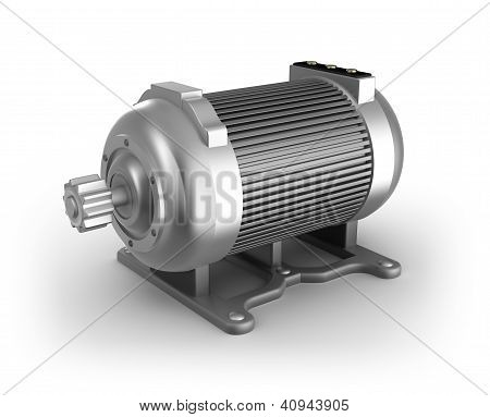 Electric motor. 3D image. Isolated on white