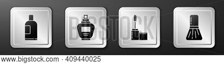 Set Bottle Of Shampoo, Perfume, Mascara Brush And Makeup Brush Icon. Silver Square Button. Vector