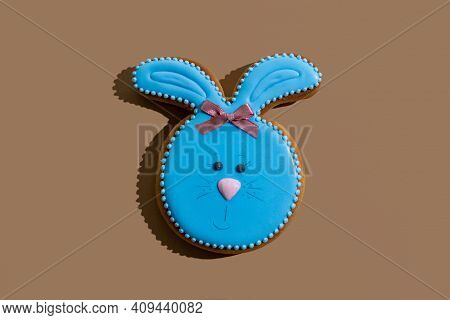 Easter Bunny Bakery. Festive Pastry. Traditional Holiday Gift. Pretty Rabbit Gingerbread Figure With