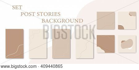 Set of abstract trendy social media backgrounds. Backdrops for posts and stories, copy space. Vertical, square backgrounds of lines and shapes in beige, skin tones