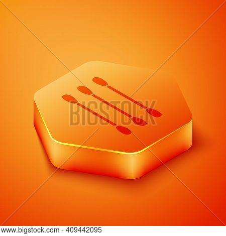 Isometric Cotton Swab For Ears Icon Isolated On Orange Background. Orange Hexagon Button. Vector