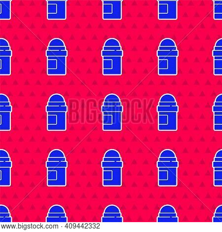 Blue Antiperspirant Deodorant Roll Icon Isolated Seamless Pattern On Red Background. Cosmetic For Bo