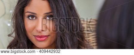 Panoramic beautiful Hispanic Latina mixed race mixed race, biracial, african american, woman looking over the shoulder of a female friend panorama web banner header