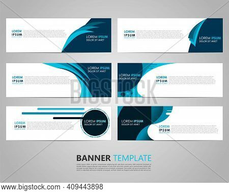 Set Six Business Vector Abstract Blue Banner Design Template. Collection Of Web Banner Template. Abs