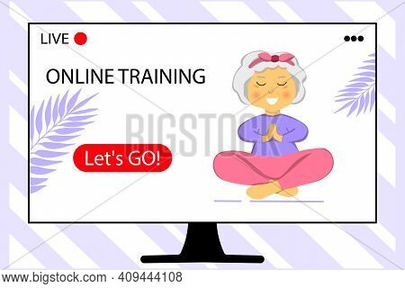 The Concept Of Online Training. Sporty Granny Does Yoga. Home Sport. Old Person. Senior Woman In Pos