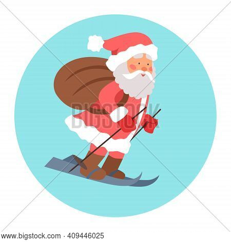 Vector Illustration Of Santa Claus, Who Is In A Hurry On Skis With Gifts In A Bag In The Snow. The M