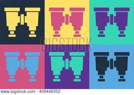 Pop Art Binoculars Icon Isolated On Color Background. Find Software Sign. Spy Equipment Symbol. Vect