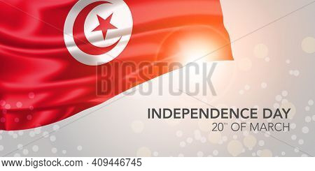Tunisia Happy Independence Day Vector Banner, Greeting Card
