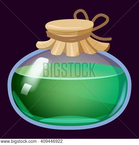 Bottle Liquid Potion Magic Elixir Colorful . Game Icon Gui For App Games User Interface. Vector Ills