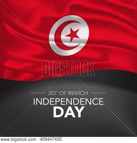Tunisia Happy Independence Day Greeting Card, Banner, Vector Illustration