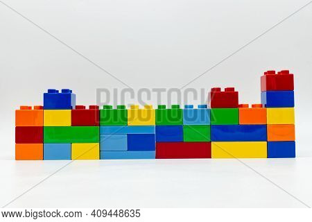 Bologna - Italy - February 21, 2021: Colored Lego Building Blocks Isolated On White Background.