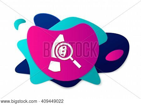 Color Magnifying Glass With Footsteps Icon Isolated On White Background. Detective Is Investigating.