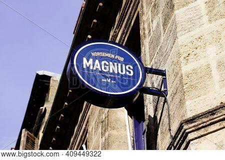 Bordeaux , Aquitaine France - 02 20 2021 : Magnus Norsemen Pub Minus Bordeaux Sign And Text Logo Of