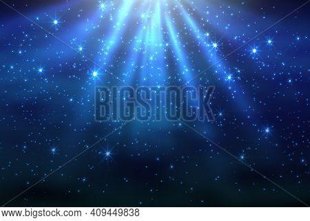 Cosmic Space Dark Sky Background With Blue Bright Shining Stars Nebula At Night