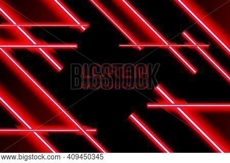 Laser Beams Red Light. Laser Beam Lines Ray Glow Effect Energy.