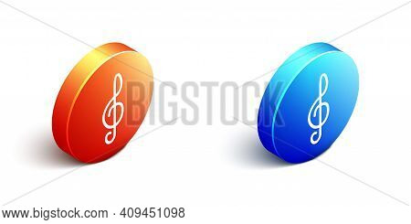 Isometric Treble Clef Icon Isolated On White Background. Orange And Blue Circle Button. Vector