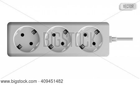 Extension Cable Cord Isolated On White Background. Electrical Triple White Plastic Power Socket Stri