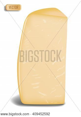 Parmesan Cheese Isolated On White Photo-realistic Vector Illustration