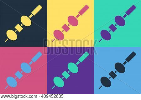 Pop Art Olive And Cheese On Chopstick Icon Isolated On Color Background. Canape, Tapas With Cheese A