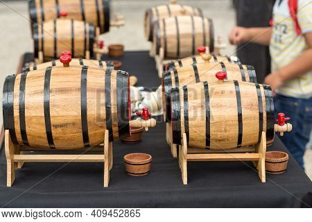 Funchal; Portugal - Sept 3; 2016:; Wine Tasting From Wooden Barrels At Madeira Wine Festival In Func