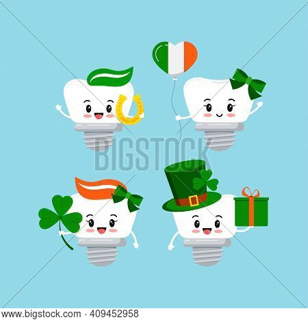 St Patrick Cute Teeth Dental Implant Icon Set Isolated. Orthodontist Dentistry Tooth Character With