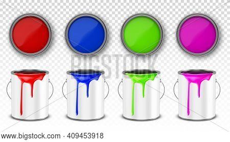 Paint Metal Bucket, Tin Cans With Red, Blue, Pink And Green Ink In Front And Top View. Vector Realis