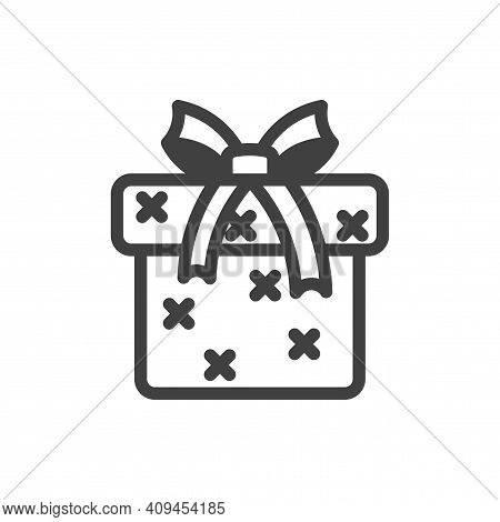 Gift Box Icon With Bow. A Simple Image Of A Closed Box. Cross-stitch Texture. Isolated Vector On A P
