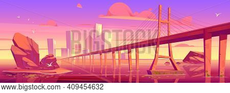 City Skyline With Buildings And Bridge Above Lake Or River At Sunset. Vector Cartoon Landscape Of Se