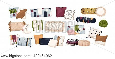 Set Of Trendy Bed Pillows With Abstract Geometric Patterns. Modern Design Of Home Cushions Of Differ
