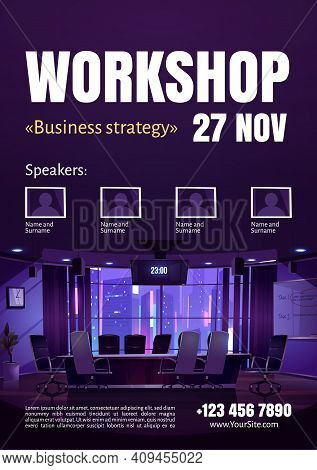 Business Strategy Workshop Poster. Flyer Template For Education Public Event, Seminar Or Conference