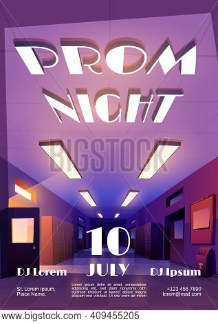 Prom Night Cartoon Invitational Poster To Graduation Party Or Disco With Empty Dark School Corridor,