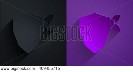 Paper Cut Vandal Icon Isolated On Black On Purple Background. Paper Art Style. Vector