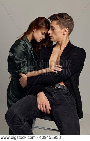 Portrait Of Young Couple Charm Passion Luxury Moda Studio