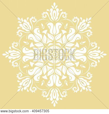 Oriental Vector Pattern With Arabesques And Floral Elements. Traditional Ound Gyellow And White Clas