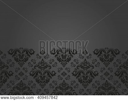 Oriental Vector Dark Horizontal Pattern With Arabesques And Floral Elements. Traditional Classic Orn