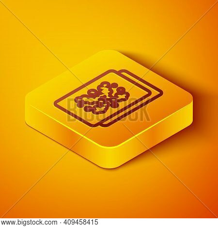 Isometric Line Rorschach Test Icon Isolated On Orange Background. Psycho Diagnostic Inkblot Test Ror