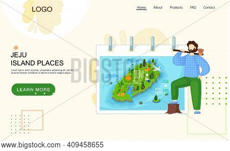 Jeju Island Map In Cartoon Style With Main Attractions Touristic Sights. Beautiful Green Island In S