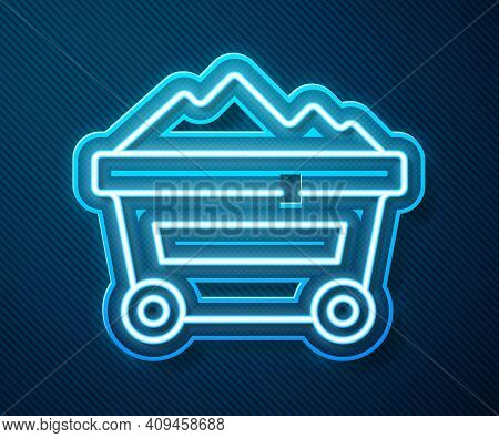 Glowing Neon Line Coal Mine Trolley Icon Isolated On Blue Background. Factory Coal Mine Trolley. Vec