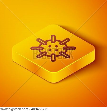 Isometric Line Naval Mine Icon Isolated On Orange Background. Sea Bomb. Yellow Square Button. Vector