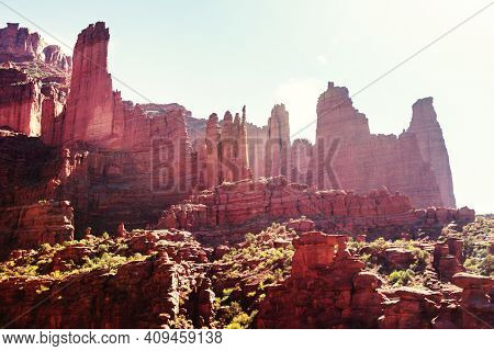 Fisher Towers in Utah, unusual natural landscapes