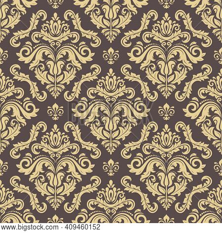 Classic Seamless Vector Pattern. Damask Orient Brown And Golden Ornament. Classic Vintage Background