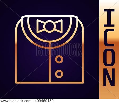 Gold Line Suit Icon Isolated On Black Background. Tuxedo. Wedding Suits With Necktie. Vector