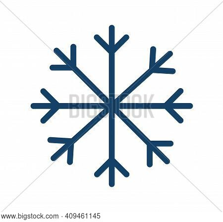 Simple Icon Of Frost Cold Weather With Snowflake. Abstract Snow Logo. Winter Precipitation. Flat Vec